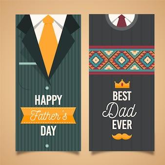 Platte ontwerp vaderdag verticale banners