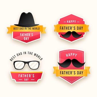 Platte ontwerp vaders dag badges collectie