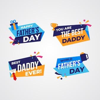 Platte ontwerp vaders dag badges concept