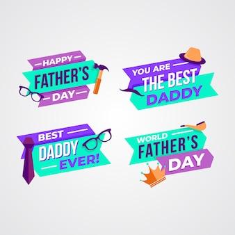 Platte ontwerp vaders dag badges ontwerp