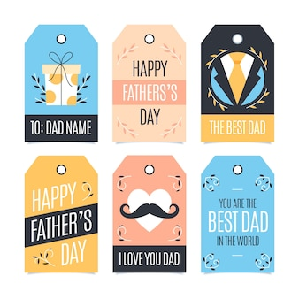 Platte ontwerp vaders dag badges thema