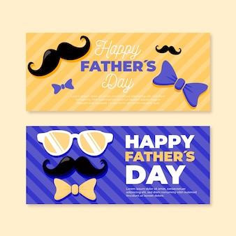 Platte ontwerp vaders dag banners sjabloon
