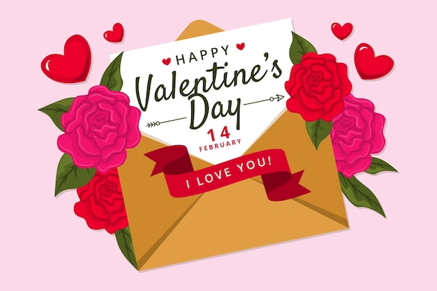 Platte ontwerp valentijnsdag achtergrond met envelop