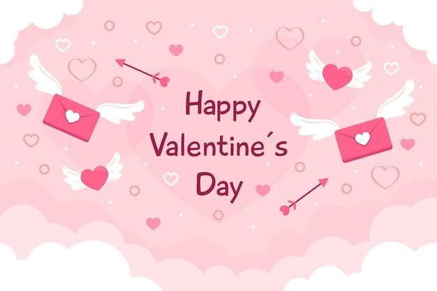 Platte ontwerp valentijnsdag achtergrond met groet