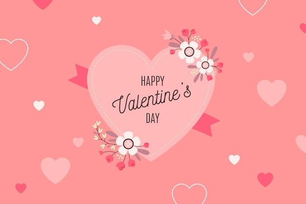 Platte ontwerp valentijnsdag achtergrond met groot hart