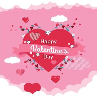 Platte ontwerp valentijnsdag achtergrond met rood hart