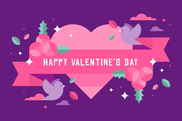 Platte ontwerp valentijnsdag achtergrond met vogels
