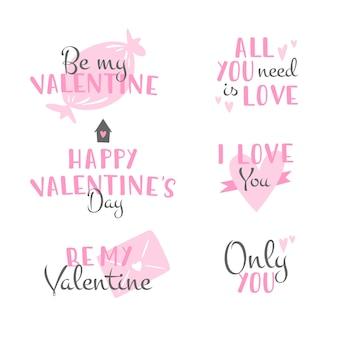 Platte ontwerp valentijnsdag badge collectie