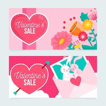 Platte ontwerp valentijnsdag banners concept