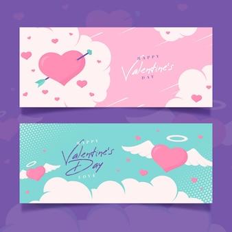 Platte ontwerp valentijnsdag banners pack