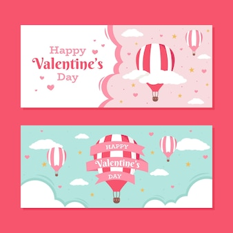 Platte ontwerp valentijnsdag banners set