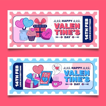 Platte ontwerp valentijnsdag banners sjabloon