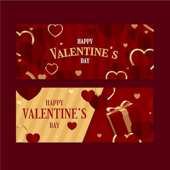 Platte ontwerp valentijnsdag banners