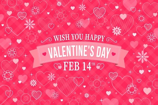 Platte ontwerp valentijnsdag behang met datum