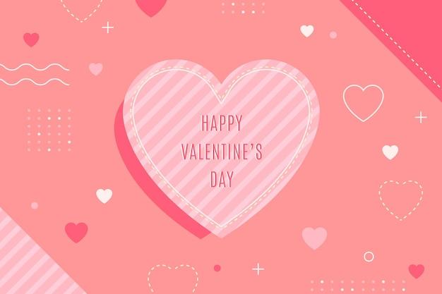 Platte ontwerp valentijnsdag behang met groot hart