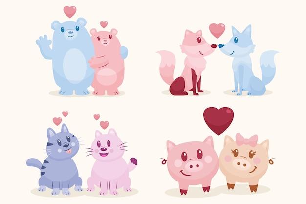 Platte ontwerp valentijnsdag dierlijk paar
