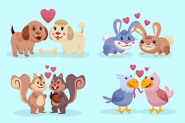 Platte ontwerp valentijnsdag dierlijk paar Gratis Vector