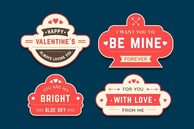 Platte ontwerp valentijnsdag etiketten instellen
