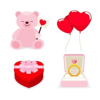 Platte ontwerp valentijnsdag geschenkcollectie