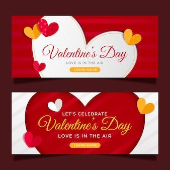 Platte ontwerp valentijnsdag moderne banners
