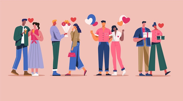 Platte ontwerp valentijnsdag paar collectie