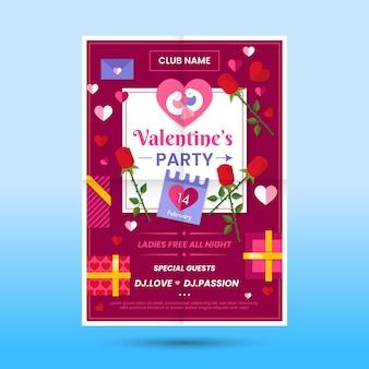 Platte ontwerp valentijnsdag partij flyer