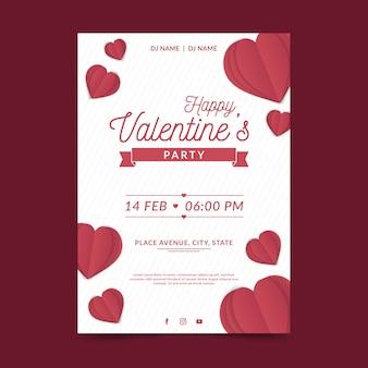 Platte ontwerp valentijnsdag partij poster sjabloon