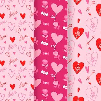Platte ontwerp valentijnsdag patronen collectie