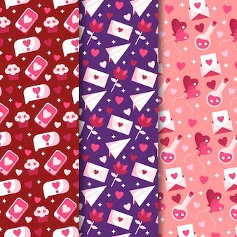 Platte ontwerp valentijnsdag patronen set