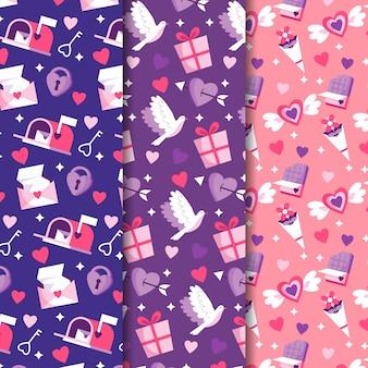 Platte ontwerp valentijnsdag patronen