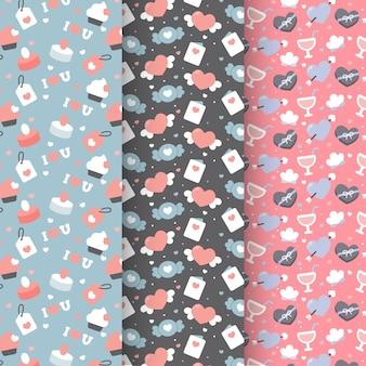 Platte ontwerp valentijnsdag patroon collectie