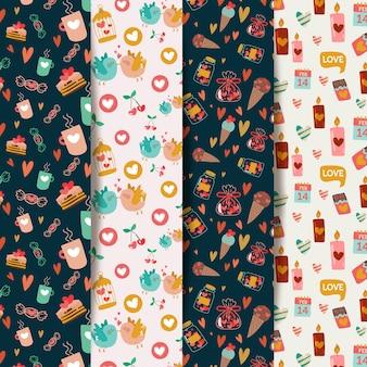 Platte ontwerp valentijnsdag patroon pack
