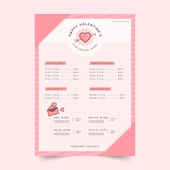 Platte ontwerp valentijnsdag restaurant menu