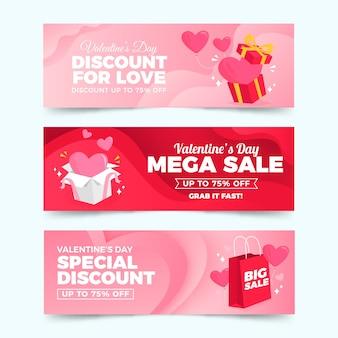 Platte ontwerp valentijnsdag verkoop banner