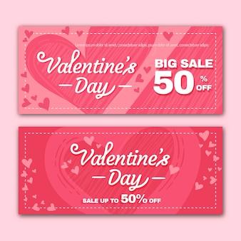 Platte ontwerp valentijnsdag verkoop banners concept