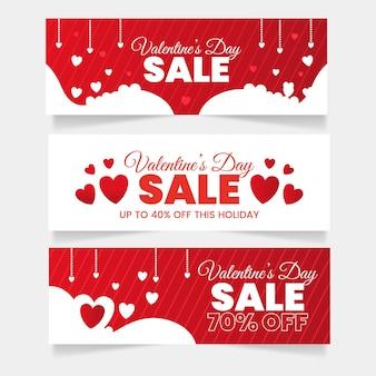 Platte ontwerp valentijnsdag verkoop banners sjabloon