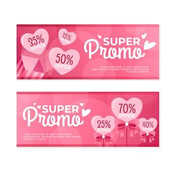 Platte ontwerp valentijnsdag verkoop banners
