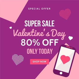 Platte ontwerp valentijnsdag verkoop concept