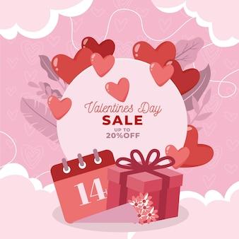 Platte ontwerp valentijnsdag verkoop met geschenken