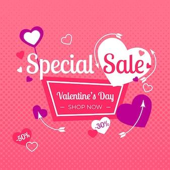 Platte ontwerp valentijnsdag verkoop thema