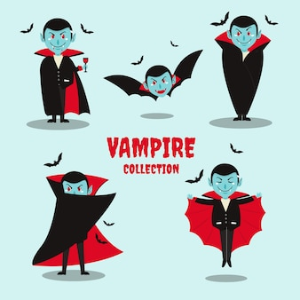 Platte ontwerp vampier-tekencollectie