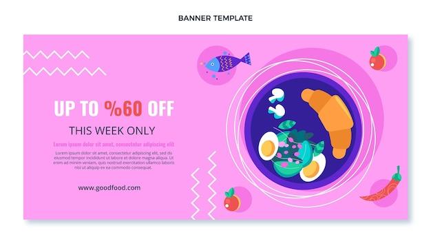 Platte ontwerp van banner voor voedselverkoop