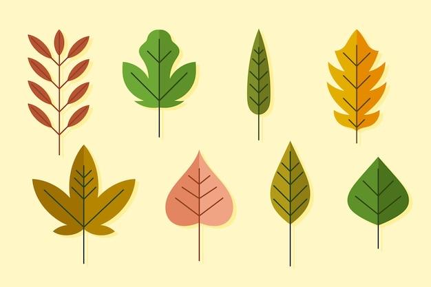 Platte ontwerp van bladeren collectie