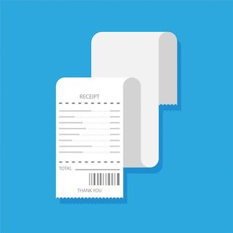 Platte ontwerp van blanco bon. papieren financiële cheque of factuursjabloon. geïsoleerd