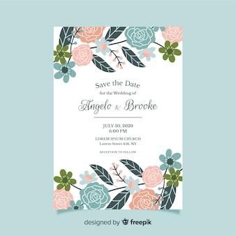 Platte ontwerp van bloemen bruiloft uitnodiging sjabloon