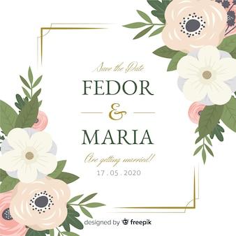 Platte ontwerp van bloemen frame bruiloft uitnodiging