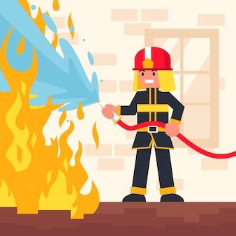 Platte ontwerp van brandweerlieden die een brand blussen
