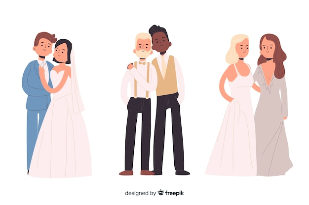 Platte ontwerp van bruidspaar collectie