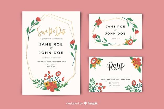 Platte ontwerp van bruiloft briefpapier sjabloon