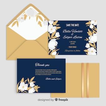 Platte ontwerp van bruiloft uitnodiging sjabloon